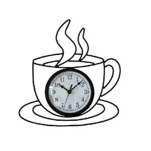 Iword Iron Creative Clock / Coffee Cup Mute Wall Clock