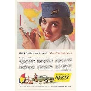 1957 Hertz Rent a Car Girl Chevy Chevrolet Bel Air Print