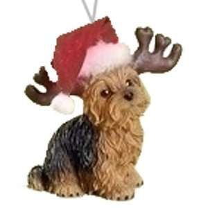 Yorkie Yorkshire Terrier Dog w/ Reindeer Antlers Christmas Ornament by