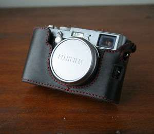 Zhou Black Red Stitching Half Case f Fuji Fujifilm X100
