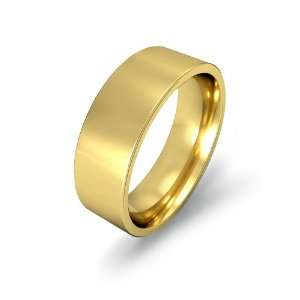 7g Mens Flat Wedding Band 7mm Comfort Fit 14k Yellow Gold Ring (8.5