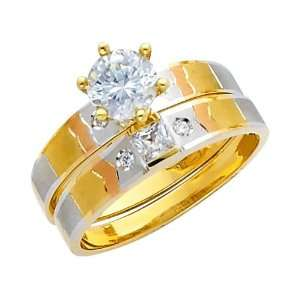 14K 3 Tri color Gold Round cut CZ Cubic Ziconia Solitaire
