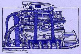 Chrysler 426 Blown Hemi Drag Racing Engine Diazo Blue Print Art