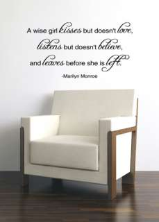 WISE GIRL MARILYN MONROE QUOTE VINYL WALL DECAL STICKER ART DECOR