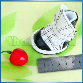 Cute PU Leather Shoes Boots Pet Puppy Dog Black & White