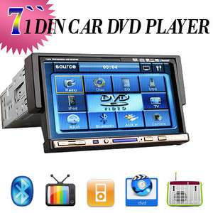 Inch Touch Screen 1 Din Car Stereo DVD Player Ipod TV