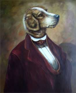 High Q. Hand Painted Oil Painting Portrait of a Dog with Tuxedo