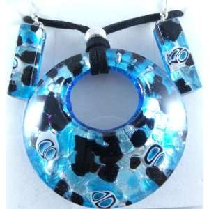 Silver Circle Murano Glass Necklace and Earrings Jewelry Set Jewelry