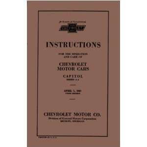 1927 CHEVROLET CAR TRUCK Owners Manual User Guide Automotive