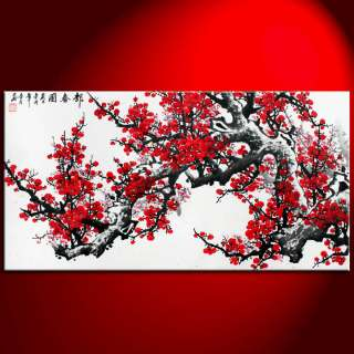 Shui Red Cherry Blossom Handmade Modern Asian Art Watercolor Paintings