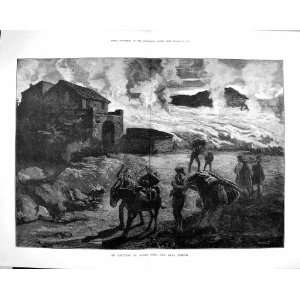 1879 ERUPTION MOUNT ETNA VOLCANO LAVA STREAM FINE ART