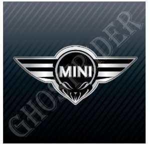 Mini Cooper Wings Skull Racing Emblem Sticker Decal
