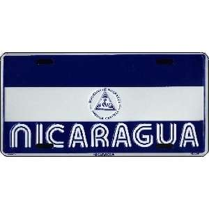 Nicaragua Country Flag Embossed Metal License Plate Auto Car