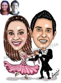 portrait cartoon style art of 2 people the drawing will be hand drawn