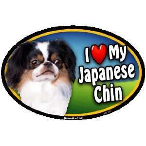 Oval Car Magnet   I Love My Japanese Chin