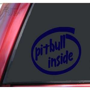 Pit Bull / Pitbull Inside Vinyl Decal Sticker   Dark Blue Automotive