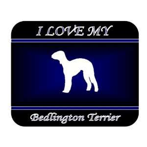 I Love My Bedlington Terrier Dog Mouse Pad   Blue Design