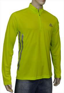 Adidas Mens Running 1/2 Zip Pullover Shirt Neon Yellow