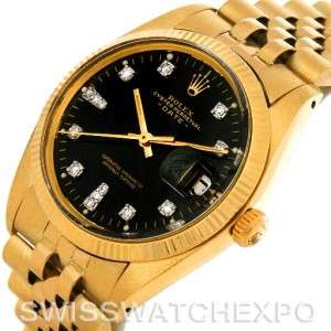 Rolex Date 1503 Mens 14k Yellow Gold Diamond Watch
