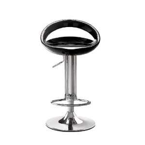 Zuo Tickle Adjustable Bar Stool in Black & Chrome