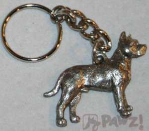 PIT BULL Terrier Pitbull Dog Fine Pewter Keychain Key Chain Ring Fob