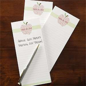 Personalized Teachers Note Pad Set   Apple Scroll Health