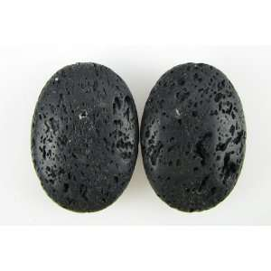 35mm volcano lava flat oval pendant beads 2pcs