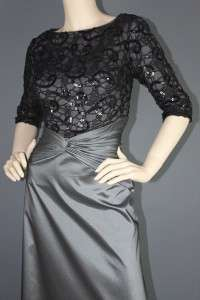 TADASHI SHOJI SEQUIN BEADED LACE BODICE TAFFETA SKIRT FORMAL GOWN