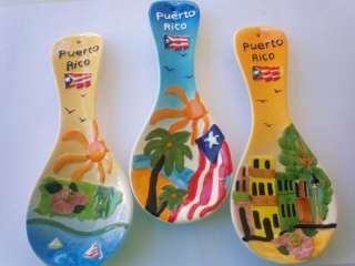Puerto Rico Spoon Shape Wall Hanging Ceramic Plaque Decor Souvenirs