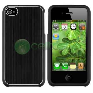 Black Brushed Aluminum Metal Snap On Hard Case+Privacy Film for ATT