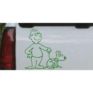 Man and Dog Stick Family Car Window Wall Laptop Decal Sticker    Dark