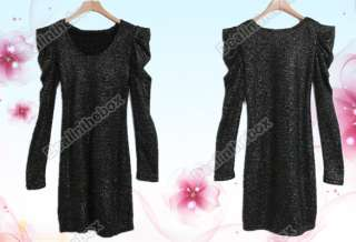 Korea Women Sexy Sparkling Puff Long Sleeve Mini Dress Special