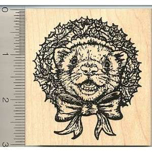 Christmas Wreath Ferret Rubber Stamp Arts, Crafts & Sewing