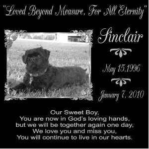 12 Lazer Gifts Personalized Our Sweet Boy Black Granite Pet Memorial