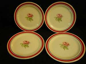 Taylor Smith Taylor Red Band Pink Rose Bread Plates
