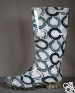 Pixy Printed Op Art Black Womens Rubber Rainboots Rain Boots New A7605