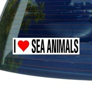 I Love Heart SEA ANIMALS   Window Bumper Sticker