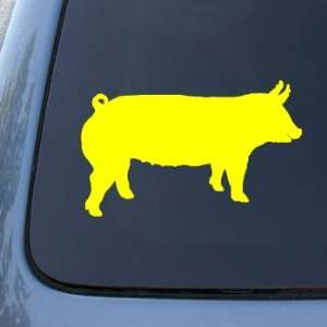 SILHOUETTE   Pig   Vinyl Car Decal Sticker #1523  Vinyl Color Yellow