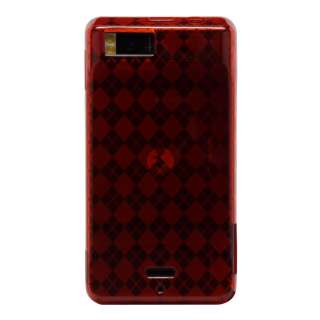 Red Argyle Candy TPU Gel Case Skin Cover for Droid X2