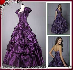 Stock Purple Quinceanera Dresses Prom Dress Ball Gowns US Size4 6 8 10