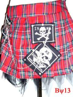 Gothic Rocker Skull Patch Punk Tartan Plaid Biker Tomb Metal Chain