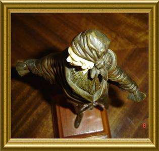 ANTIQUE ART DECO BRONZE SIGNED OMERTH GYPSY SCULPTURE