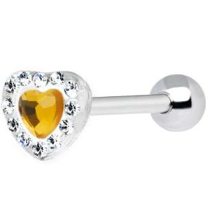 Yellow Heart Acrylic Paved Gem Barbell Tongue Ring