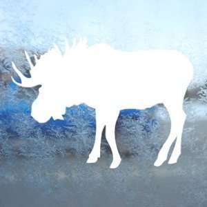 Bull Moose Hunting White Decal Car Window Laptop White