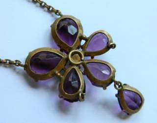 Antique VICTORIAN ART DECO CZECH OPEN BACK AMETHYST CRYSTAL PANSY