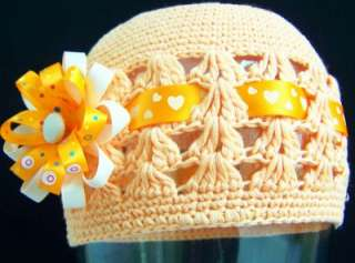 NEW Inf. Tod. Girls Custom SOFT PEACH bOuTiQuE Knit Hat