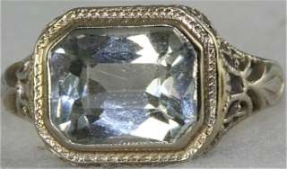 VTG ANTIQUE ART DECO 18K FILIGREE GOLD AQUAMARINE RING