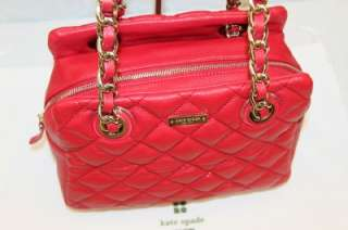 Kate Spade Gold Coast ELIZABETH Quilted Red Leather Satchel Bag #KS 01