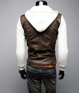 Stylish Slim Fit PU Leather Jackets Sweater hoodies Coats 3 Color A411