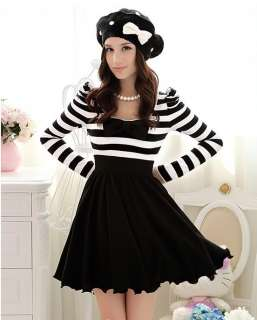 Japan Dolly Gothic Punk Lolita DOLL BOW Black & White Stripes Onepiece